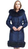 Basic Editions Women Winter Slim Fit Belt Side Pockets Down Jacket Hood and Bottom Fur Parka Coats