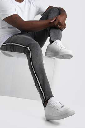 BoohoomanBoohooMAN Mens Grey Big & Tall Skinny Fit Jeans With Side Tape, Grey