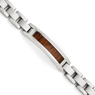 Chisel Men's Stainless Steel Polished and Brushed 8.5-inch Brown Wood Enameled Bracelet
