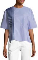 Piazza Sempione Crewneck Half-Sleeve 2-Way Striped Poplin Shirt