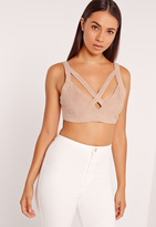 Missguided Faux Suede Cross Strap Crop Top Nude