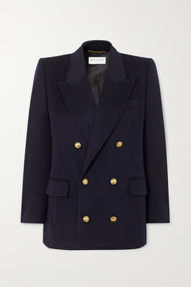 Saint Laurent Double-breasted Wool And Cashmere-blend Blazer - Navy
