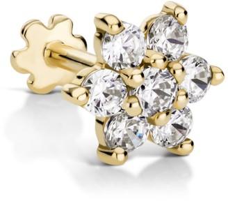 Maria Tash 7Mm Yellow Gold And Diamond Flower Threaded Earring