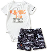Under Armour Baby Boys Newborn-12 Months Running This Game Bodysuit & Camouflage-Printed Shorts Set