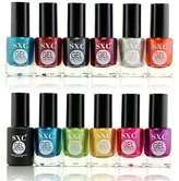 SXC Cosmetic 12 Gel Effect Nail Lacquer, No UV/LED Light Needed, Bloody Metallic Collection, Professional Quality & Quick Dry,14ml/0.47 Fluid Ounce Each, Perfect Gift For Holiday