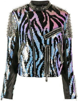 Philipp Plein Zebra Leather Biker Jacket