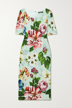 Dolce & Gabbana Floral-print Cady Dress - Blue