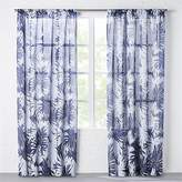 CB2 The Hill-Side Palm Leaves Sheer Navy Curtain Panel