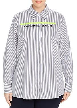 Marina Rinaldi Bit Karma Has No Deadline Striped Cotton Poplin Shirt