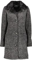 Steve Madden Charcoal & Black Faux Fur-Trim Button-Up Jacket