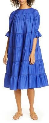 Merlette New York Paradis Open Tier Cotton Midi Dress