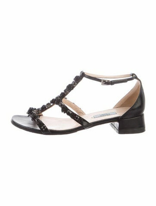 Prada Patent Leather Crystal Embellishments T-Strap Sandals Black