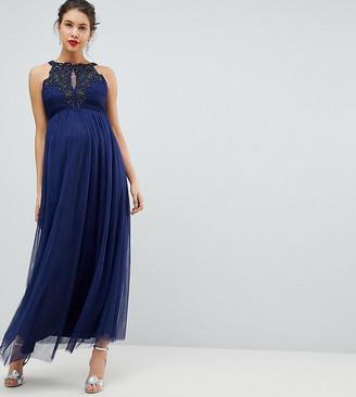 Little Mistress Maternity Applique High Neck Maxi Dress
