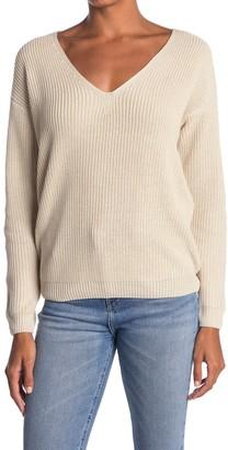 Heartloom Back Lace-Up V-Neck Sweater