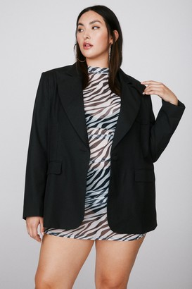 Nasty Gal Womens The Power is Now Shoulder Pad Plus Blazer - Black - 16
