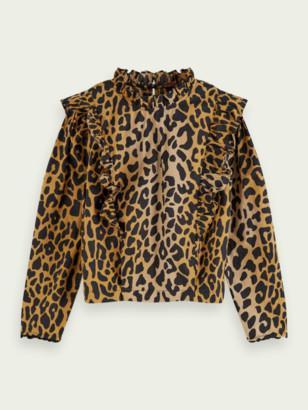Scotch & Soda Animal print ruffle top 100% cotton | Girls