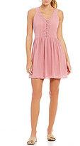 Copper Key V-Neck Sleeveless Lace Trim Swing Dress