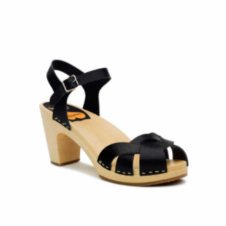 Swedish Hasbeens Black Leather Kringlan Sandal - 37 | leather | black - Black/Black