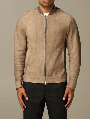 Low Brand Bomber With Leather Zip