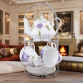 CLG-FLY Continental tea pot ceramic coffee cup set creative Cup upscale English-style afternoon tea coffee cup and saucer set