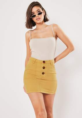 Missguided Tall Mustard Co Ord Button Through Denim Skirt