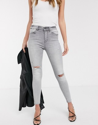 Stradivarius high waist skinny jeans with rips in grey wash