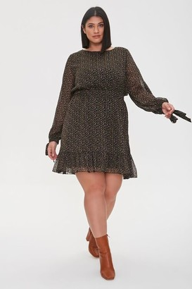 Forever 21 Plus Size Chiffon Ditsy Floral Dress