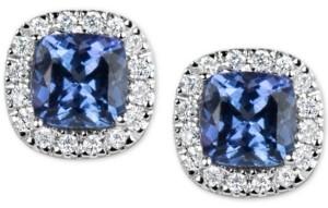 Macy's Tanzanite (1-1/5 ct. t.w.) and Diamond (1/6 ct. t.w.) Stud Earrings in 14k White Gold