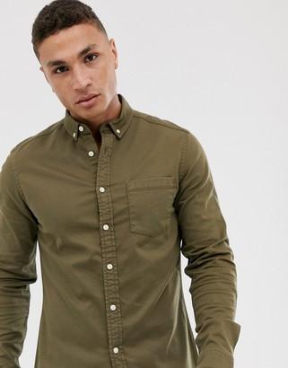 Asos Design DESIGN stretch slim denim shirt in khaki-Green