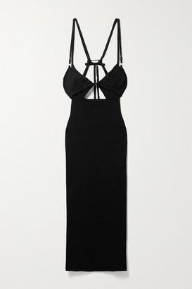 Jacquemus Pila Cutout Layered Linen-jersey Midi Dress - Black