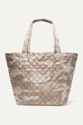 MZ Wallace Metro Medium Leather-trimmed Quilted Camouflage-print Ripstop Tote - Neutral