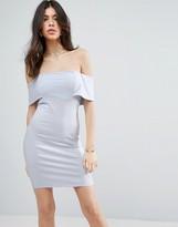 Asos Deep Bardot Mini Bodycon Dress