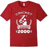Men's Cricket Legends Are Born In 2000 Birthday Gift T-shirt 2XL