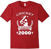 Men's Cricket Legends Are Born In 2000 Birthday Gift T-shirt Large