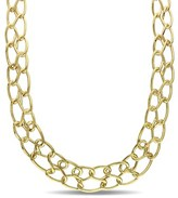 Catherine Malandrino Double Row Link Choker In 18k Yellow Gold Plated Sterling Silver.