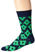 Happy Socks Men's 1pk Unisex Combed Cotton Crew-Blue/Green Lily