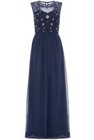 Quiz Navy Embellished Bodice High Neck Maxi Dress
