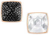 Swarovski Rose Gold-Tone Black and Clear Crystal Front-Back Earrings