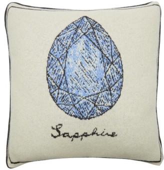 SAVED NY X Fee Greening Sapphire Cashmere Cushion - Ivory Multi