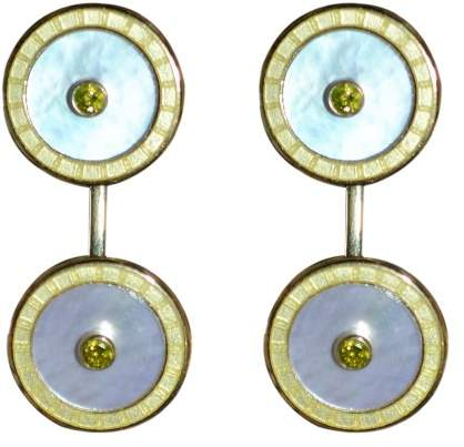Deakin & Francis 18K Yellow Gold, Gold Enamel White Mother of Pearl & Diamond Cufflinks