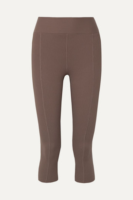 YEAR OF OURS Reformer Cropped Ribbed Stretch Leggings - Taupe
