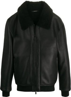 Ermenegildo Zegna shearling-collar leather jacket