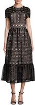 Kate Spade Short-Sleeve Lace Midi Dress, Black