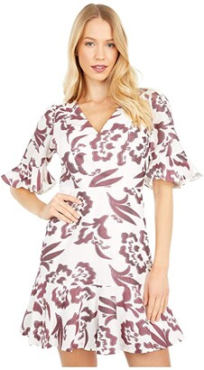 Rebecca Taylor Short Sleeve Amea Ruffle Dress (Snow/Spice) Women's Dress
