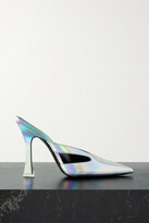 Thumbnail for your product : ATTICO Anais Cutout Iridescent Leather Mules - Silver