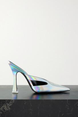 ATTICO Anais Cutout Iridescent Leather Mules - Silver