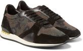 Burberry - Suede And Leather-trimmed Camouflage Mesh Sneakers