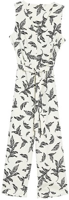 T Tahari Sleeveless Leaf Print Jumpsuit