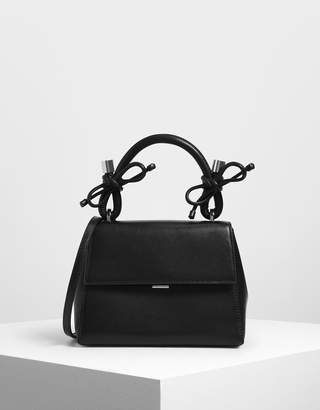 Charles & Keith Double Bow Leather Top Handle Bag