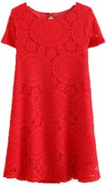 Sunmy Women's Plus Size Dress Summer Loose Short-Sleeved Lace Skirt L